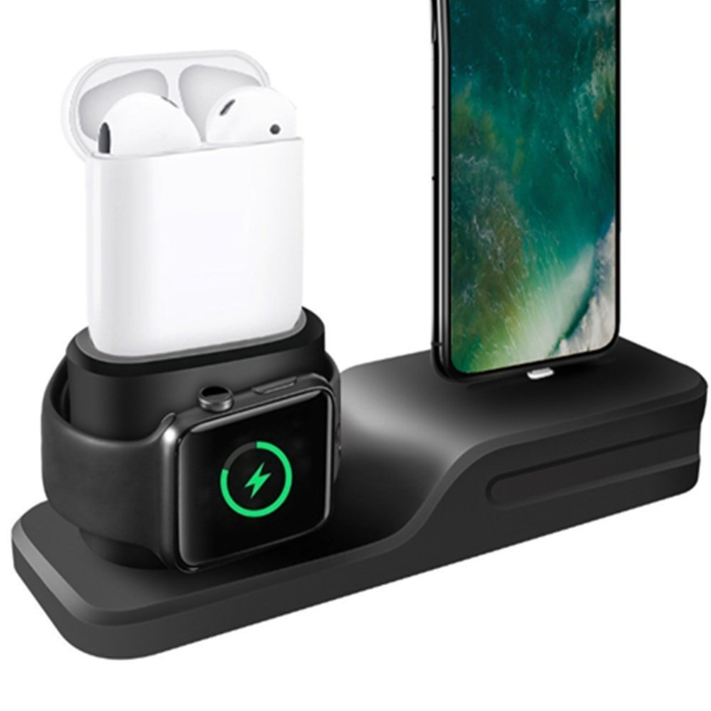 3in1 Silicone Holder For Apple Watch Dock For iPhone X 6 6S 7 8 Plus Airpods Dock Charger Stand Station Cradles Mounts Base
