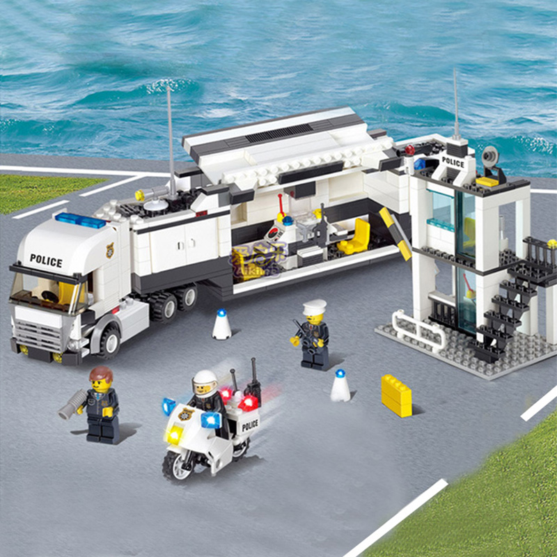 511pcs Police bus Station police truck  Building Blocks Educational Toys Bricks Compatible with major brand Gift Toy for kids kazi 6726 police station building blocks helicopter boat model bricks toys compatible famous brand brinquedos birthday gift