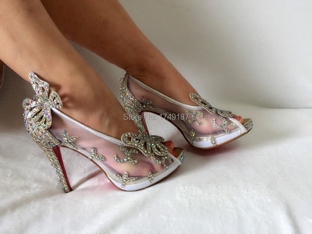 Limited Cinderella Gl Slipper Sandals Crystal Wedding Shoes High Heels P Pumps Bowknot Red Bottom