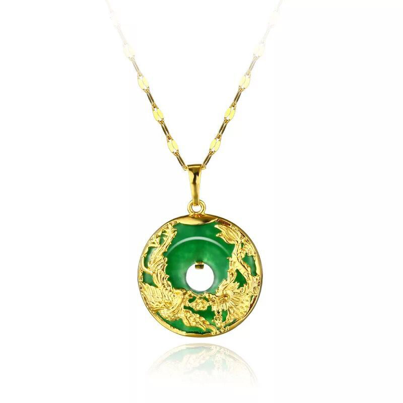 Mgfam 173p dragon and phoenix pendant necklace for women green 1 2 mozeypictures