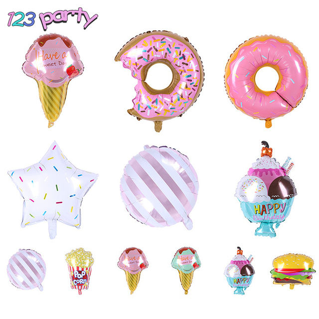 1pcs New Ice Cream Popcorn Cake Hamburg Donut Pizza Balloon Birthday Party Baby Shower Decoration Inflatable