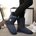 O envio gratuito de Alta Qualidade Genuína pele de carneiro das Mulheres Botas de Neve de couro 100% natural fur botas de neve Botas de Inverno Quente