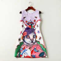 2018 весна/лето О образным вырезом без рукавов НЛО кошки печати Короткое женское платье бренд же стиль Vestidos De Festa 3291