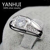 YANHUI Brand Fashion Men 1 Carat CZ Diamond Wedding Rings For Men Real 18K White Gold