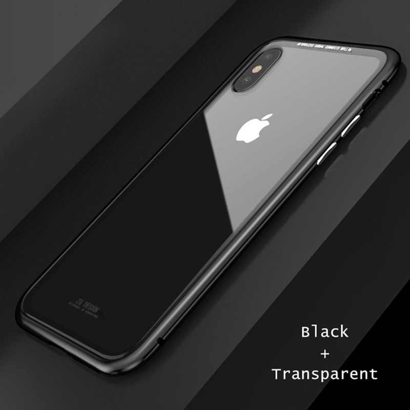 watch 34d94 7c7a4 Luxury Magnetic Adsorption Metal Case Ultra Thin Tempered Glass Case  Support Wireless Charge For iPhone XS MAX XR X 6 7 8 7P 6P