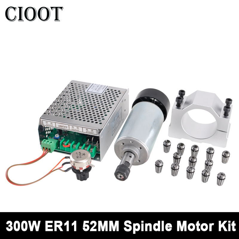 300W CNC Spindle Motor DC ER11 Air Cooled Spindle Motor+ Power Supply + 52mm Clamp + 13pcs Collet For Engraving Milling Machine 600w high speed spindle motor air cooled motor dc spindle collet for cnc engraving machine drilling 1pcs
