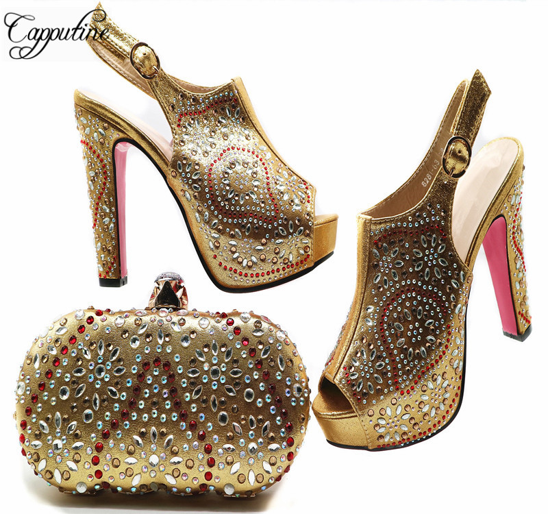 Capputine 2018 Latest Gold Color Matching Shoes And Bag Set African Style Party Shoes Nigerian Women Shoes And Bag Set G53 capputine african style crystal shoes and matching bag set for party fashion women pumps slipper shoes and bags set size 37 43