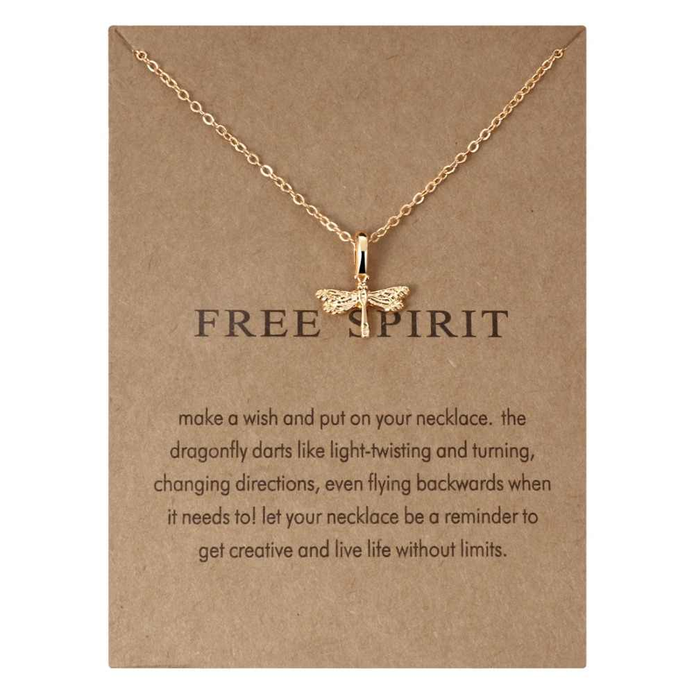 MINHIN Gold Pendant Necklace for Women Hot Sale Birthday Gifts Message Card for Friends Necklace With Customized Wish Card