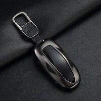Aluminum Alloy Car Key Case Cover Key Shell Storage Bag Protector For Tesla Model S