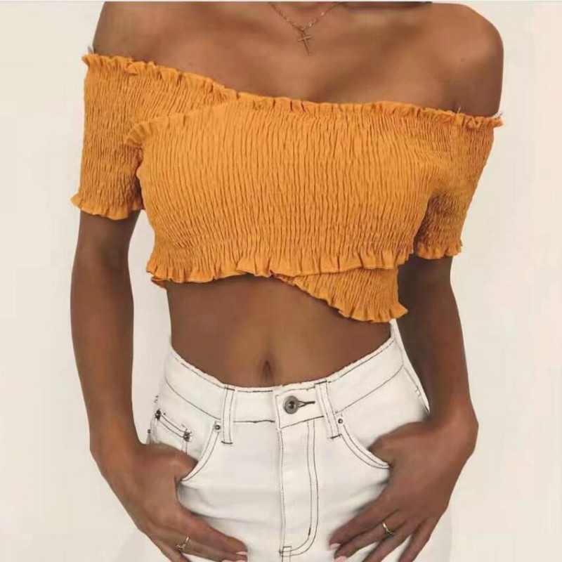 Sexy off shoulder criss-cross ruffle crop top short sleeve shirt smocking top solid white camis 2018 Summer tops blouse women