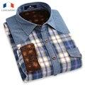 Langmeng 2016 человек бренд дизайнер мужской рубашки мужчины с длинным рукавом плед теплый рубашку утолщение верхней одежды стиль высокое качество