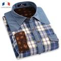 Langmeng 2016 man brand designer shirts male  men long sleeve plaid warm shirt thickening outwear style high quality