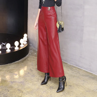 TUHAO 2018 Autumn Vintage Women PU Pant big Size Pants RED Pockets high street loose Wide Leg Pants Female Clothing QH46