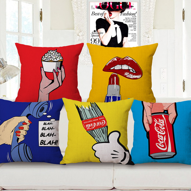 Pop Art Teley Lip Ice Cream Throw Cushion Covers Candy Color Decorative Pillow Case Not