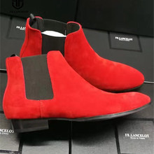 Real Picture Handmade Slip On Red Nubuck Genuine Leather Ankle Chelsea Boots Luxury Personalized Exclusive Designed Martin Boots