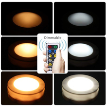 Dimmable Warm white+White Under Cabinet Lights Puck Light Shelf Kitchen Closet Lamp LED Closet Showcase Counter Night Lighting