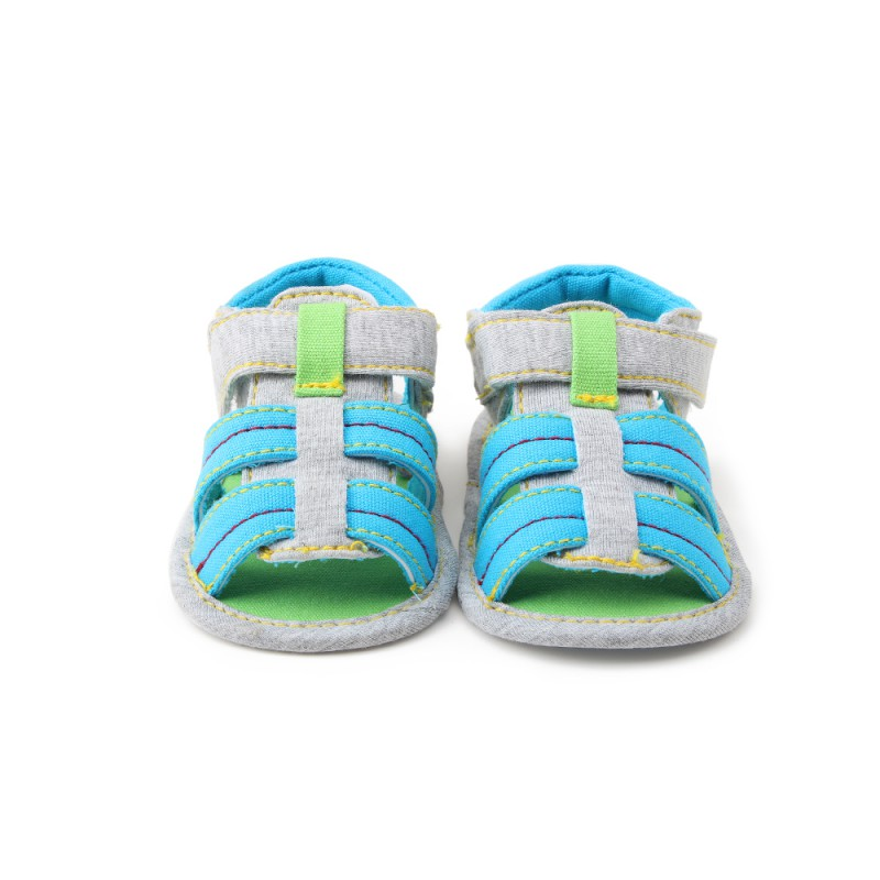 2017 hot sales Summer Baby Boys Soft Sandals Baby Leisure Prewalker Soft Sole Striped Beach Shoes Cotton fabric Hook&Loopsandal
