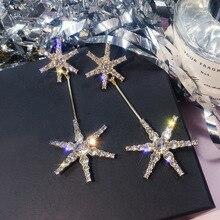 Silver Needle exaggerated snowflake earrings long ear-pendant  drop earrings jewelry earrings  rhinestone earrings