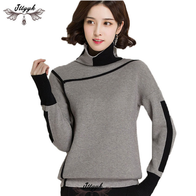 924f9ae0c3 2018 Spring Autumn Elegant Knitted Sweaters Cashmere Women Pullovers Winter  Turtleneck Loose Warm plus size Knitt Sweater Female