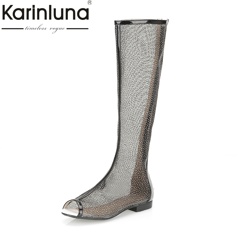 Karinluna 2018 Brand Design Shoes Large Size 34-43 Peep Toe Air Mesh knee-high Boots Women Shoes Summer Boots Footwear