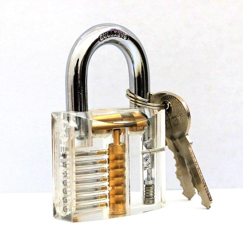 Transparent Lockpick Cutaway Inside View Pick Lock Set Padlock Locksmith Tools For Practice Train Skills Professional Lock Picks(China)