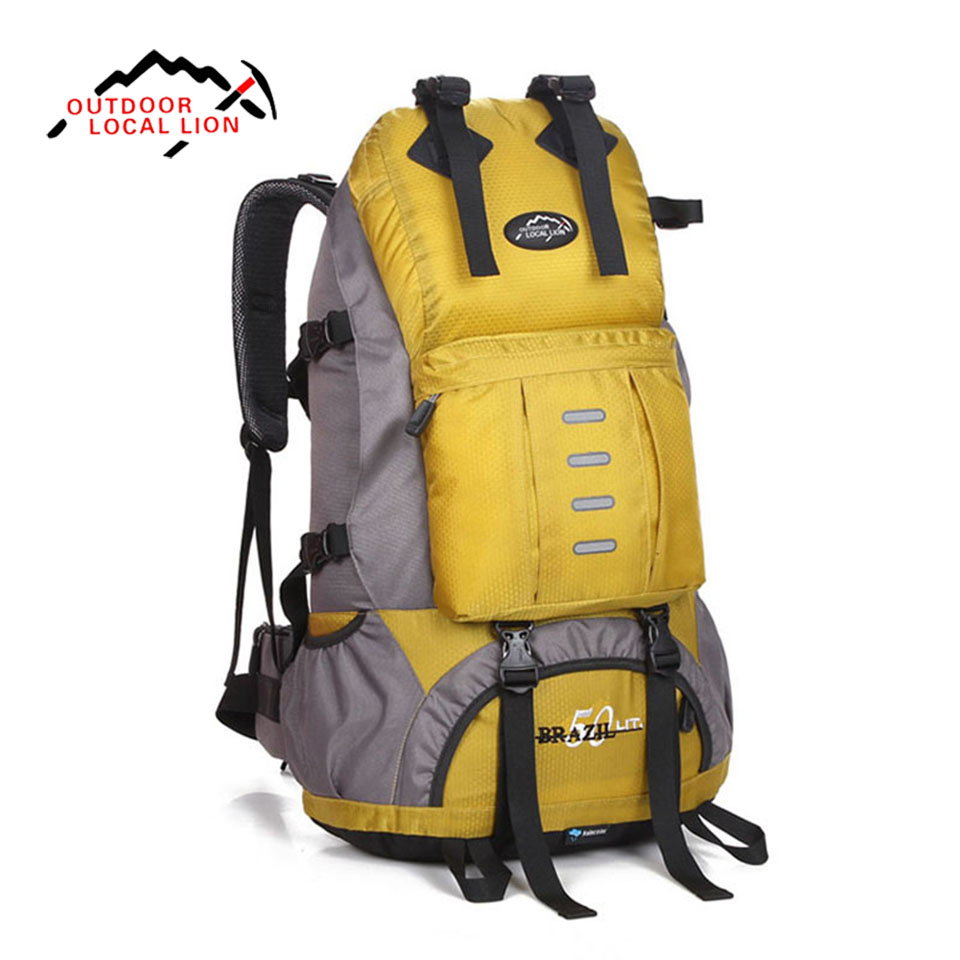 LOCAL LION Waterproof Travel Hiking Backpack 50L Sports Bag For Women Men Outdoor Camping Climbing Bag Mountaineering Rucksack outdoor 50l sports bag large capacity men travel bag mountaineering backpack hiking camping waterproof bag