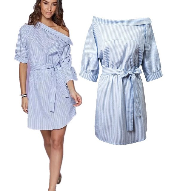 bfaa1d11bfc21 Robe chemise Sexy côté fendu femmes été une épaule bleu rayé demi manches  décapant robe ceintures
