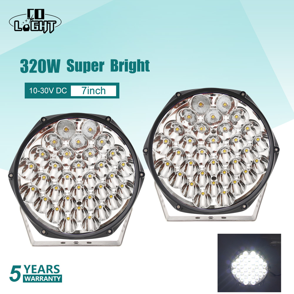 "CO LIGHT Super Bright 7"" 320W LED Work Light Bar Led Beams Offroad LED Light Bar for 4WD 4x4 Trucks SUV ATV Boat 12v 24v LED Bar"