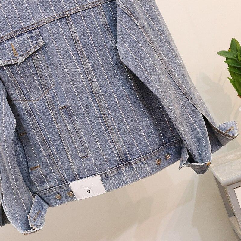 Femmes Manches Femme Casual Forage Mode Lâche Mujer Automne Denim De Longues Veste Manteau Jeans Chaude Rayures 2018 Manteaux Chaqueta gHpwP