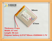 1PCS Free Shipping Size 606790 3 7V 4200mah Lithium Polymer Battery For IPad 3 Tablet PCs