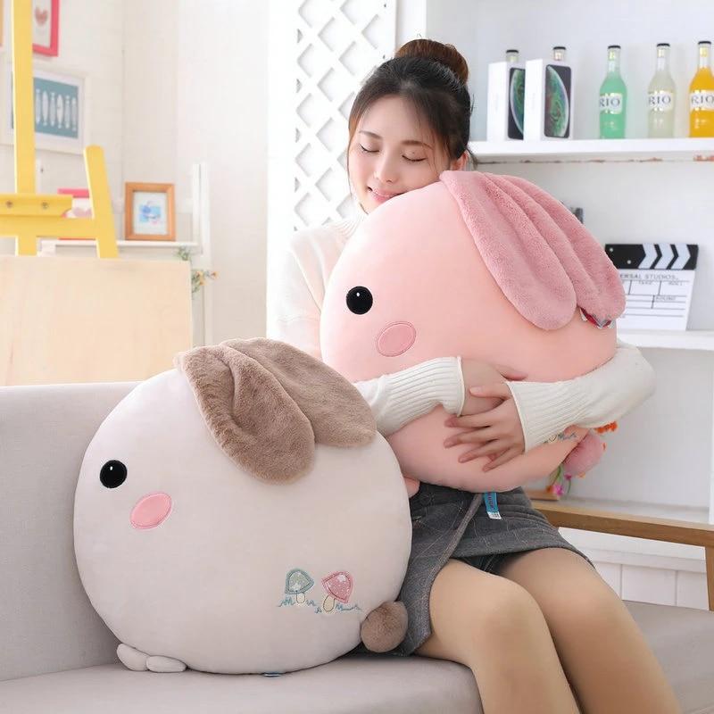 super soft round rabbit throw pillow stuffed animal bunny big ear round chair waist cushion hug message pillow for girl birthday
