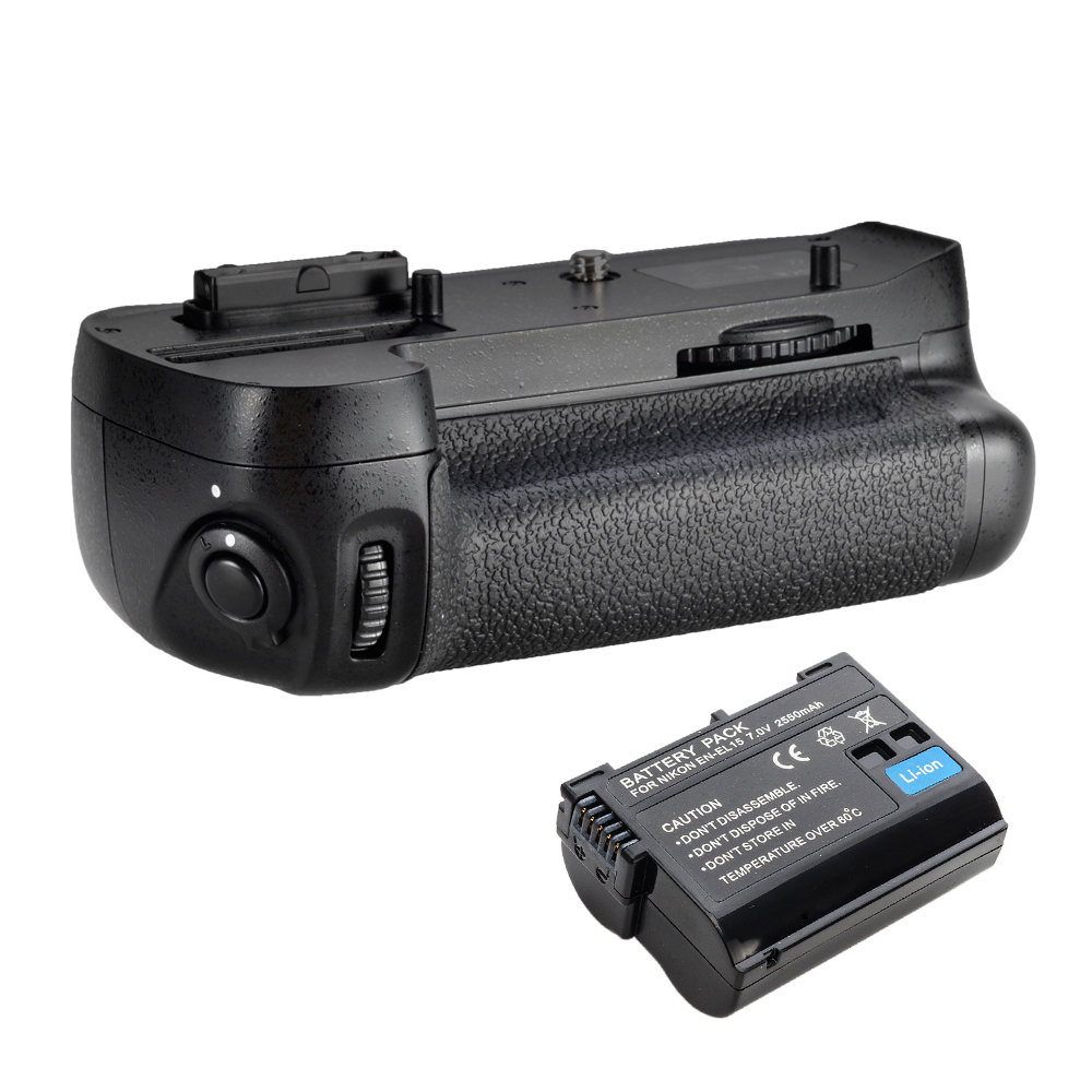 Meike Vertical Battery Grip for D7100 + Full Decoded as EN-EL15 Battery 017209 Free Shipping meike vertical battery grip for nikon d7200 d7100 rechargeable li ion batteries as en el15 017209