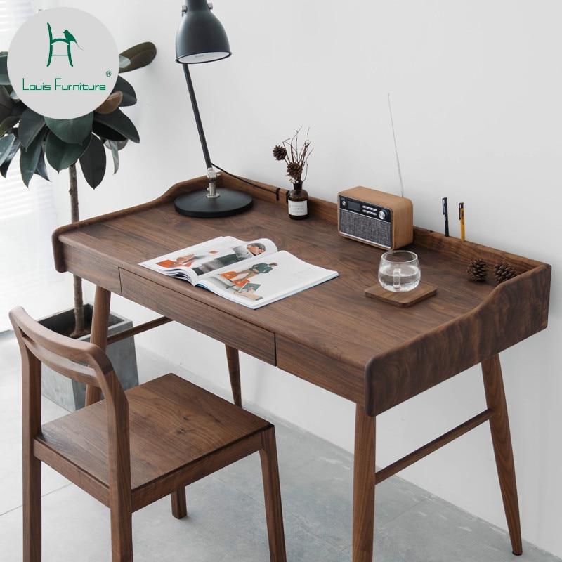 Louis Fashion Furniture Solid Wood Desk Cherry Black Walnut Northern Europe