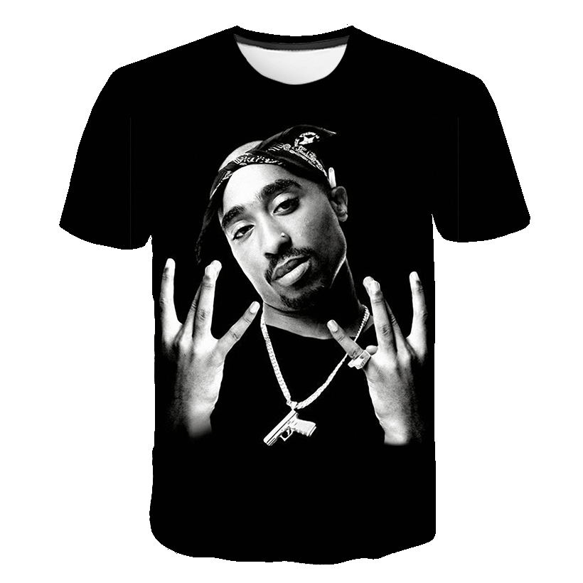 2019 New Summer New Fashion Men Women T Shirt Rapper 2pac Tupac 3d Print Hip Hop T Shirts Casual Cool Tshirt Men Plus Size 5XL