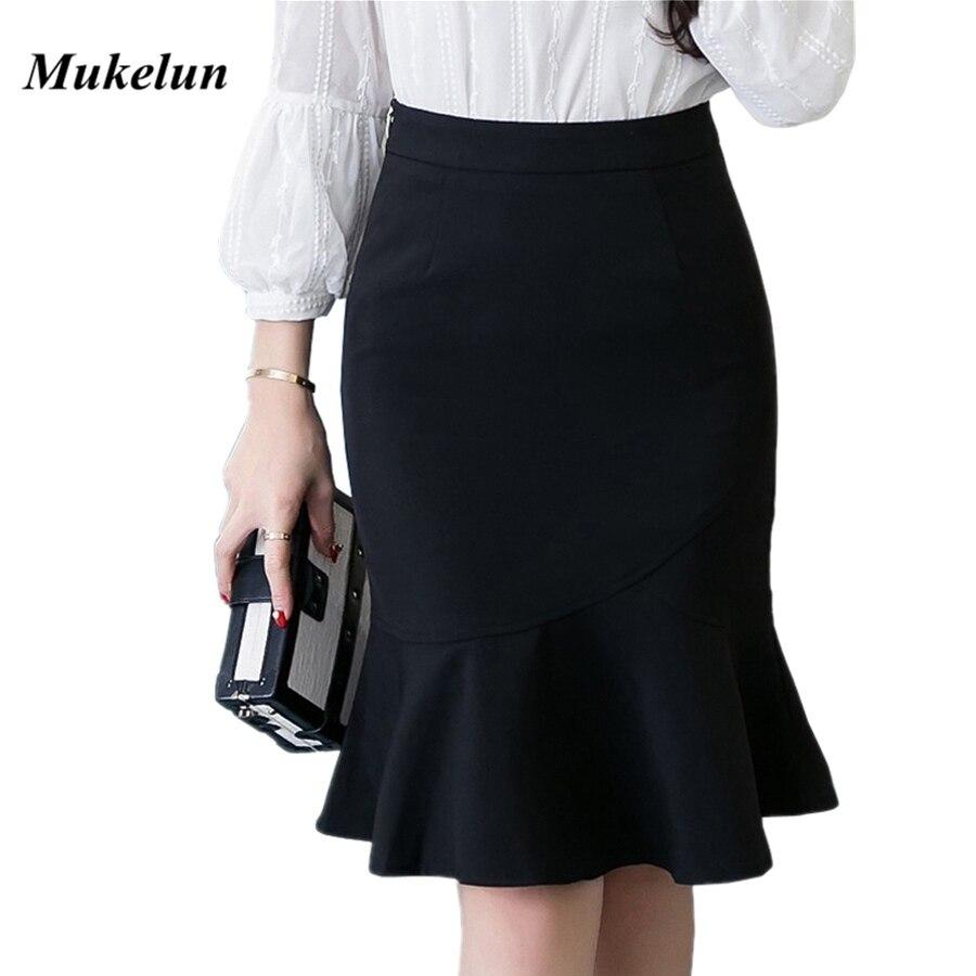 S-5XL 2019 Women Pencil Skirt Fashion OL Slim Bodycon Business Wear Ruffles Hem Mermaid Style Plus Size Ladies Office Skirt