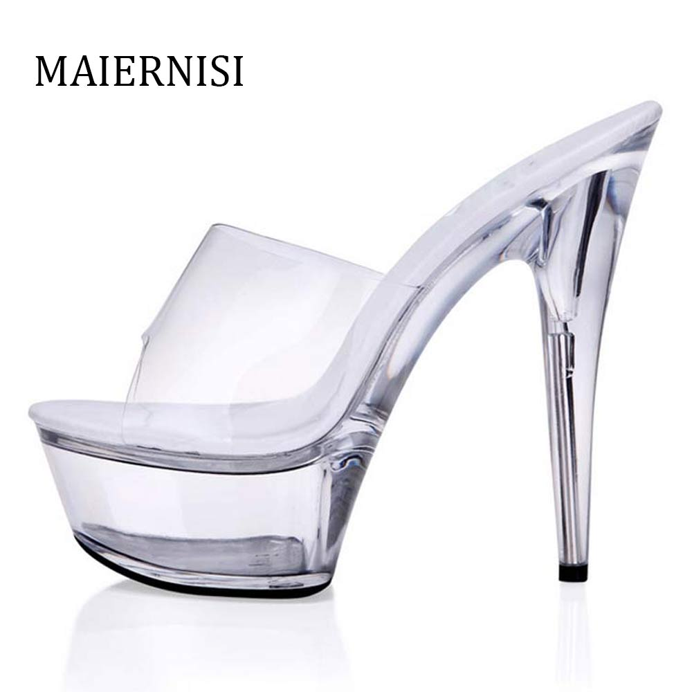 Summer Style Sandals 34 44 Discount Sexy Women Pumps 5CM Flower Platform Woman Shoes Transparent Crystal