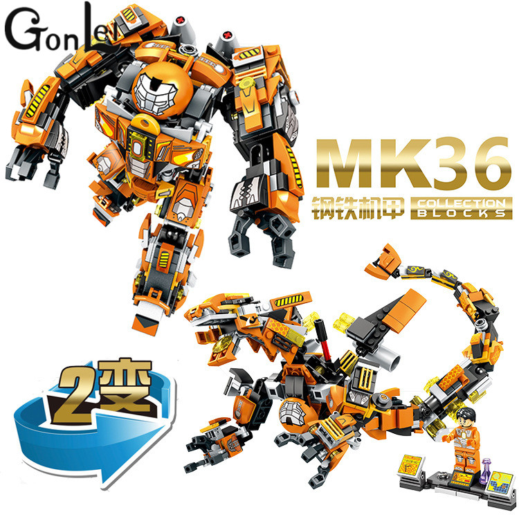 GonLeI 2 in 1 MK36 Marvel Avengers Super Heroes Captain America Iron Man Building Blocks Enlighten Toys Compatible Lepin marvel super heroes avengers wonda iron man mk anti hulkbuster thor vision ultron assemble building blocks minifig kids toys