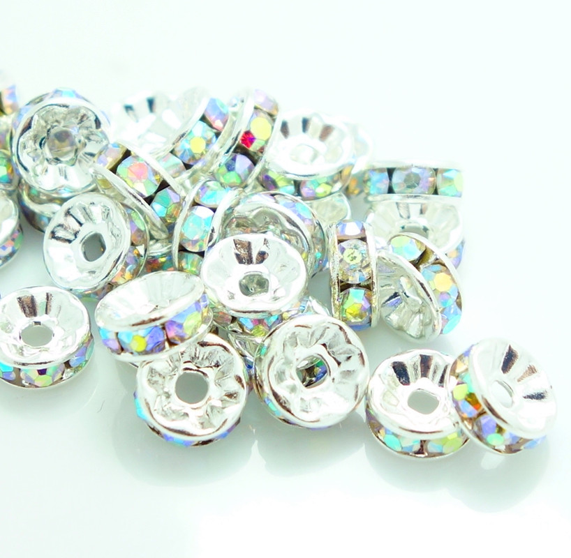 Lots 50//100Pcs Czech Rondelle Crystal  Loose Spacer Beads DIY Findings 8mm