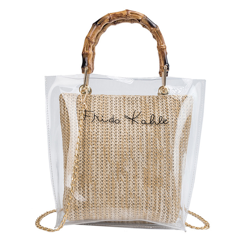 Women Transparent PVC Shoulder Bag Hand Woven Straw Handbag Korean Fashion Beach Chain Messenger Crossbody Bags Clear Handbags in Shoulder Bags from Luggage Bags