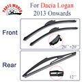 Kit Dianteiro E Traseiro de Borracha de Silicone Wiper Blades Para Dacia Logan 2013 Em Diante, Limpa-pára-brisas Acessórios Do Carro