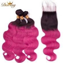 ★  Dorisy T1B / RED наращивание волос Пучки человеческих волос с закрытием Малайзия Реми Плетение