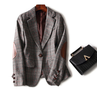 Blazer 2015 New Fashion Autumn Winter Women Plaid Wool Leather Patchwork One Button Slim Blazers Coat Casual Jackets OUTERWEAR