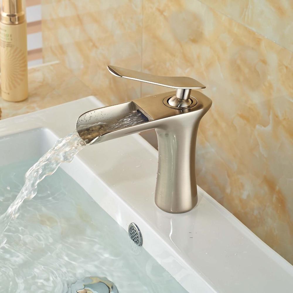Waterfall Spout Bathroom Faucet Vanity Sink Mixer Tap Deck Mounted Brushed Nickel nickel brushed wall mounted solid brass bathroom sink tub faucet led waterfall spout mixer tap
