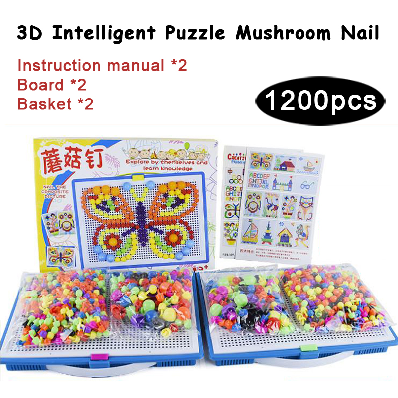 DOLLRYGA 1200pcs Mushroom Nail Intelligent 3D Puzzle Game For Kid Plastic Flashboard Educational Toys For Children Birthday Gift