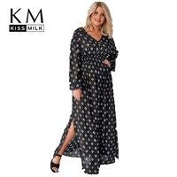 Kissmilk Plus Size Geometric Print Side Slit Lantern Sleeve Maxi Dress V Neck Black High Waist Women Dress Large Size Dress