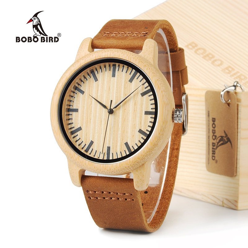BOBO BIRD Bamboo Wood Watch Men Dress Watches With Cow Leather Strap Quartz Analog Unisex Wooden Wristwatch Relogio Feminino