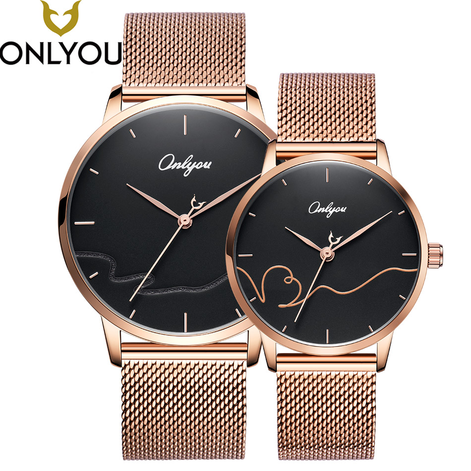 ONLYOU Lovers Watches Brand Women Fashion Quartz Wristwatches Men Business Waterproof Watch Valentine's Day Gift For Lovers onlyou lovers quartz watches luxury men women fashion casual watch 50m waterproof simple ultra thin design wristwatches