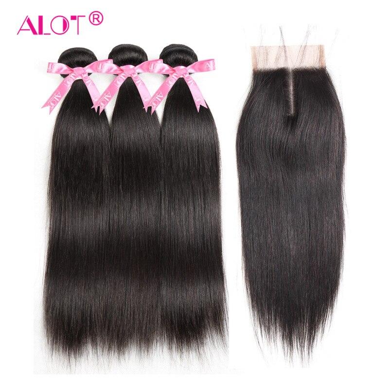 たくさんブラジルストレート人間の髪のバンドルレースの閉鎖ナチュラルカラー 3 バンドル毛は閉鎖非レミーの髪  グループ上の ヘアエクステンション & ウィッグ からの 3/4 バンドル留め具付き の中 1
