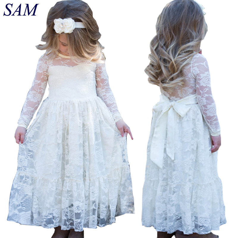 Girl Lace Long Dress With Sweet Flower For Age 2-11 Baby Kids Princess Wedding Prom Party White/Cream Big Bow Long Sleeved Dress