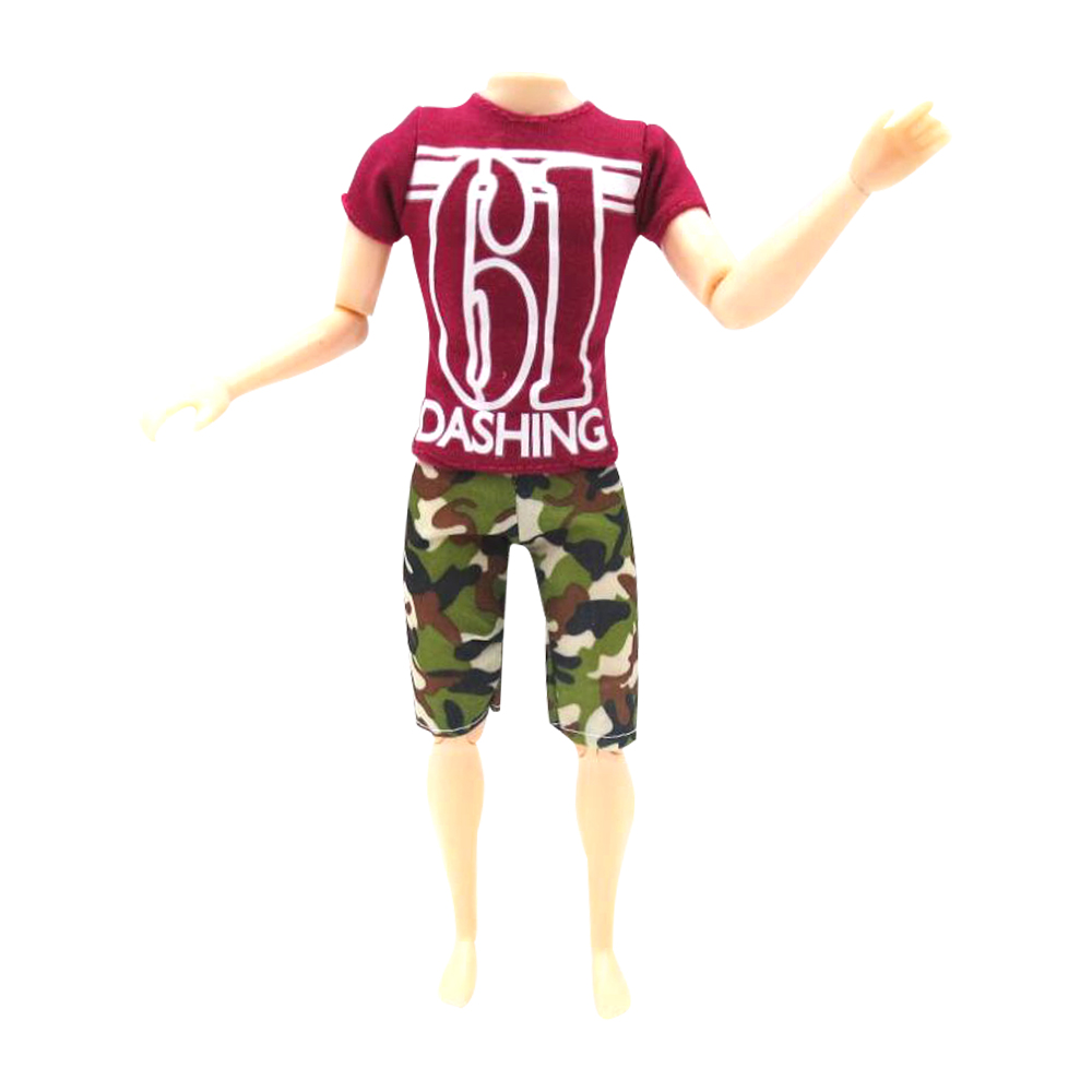 NK One Set Prince Doll Fashion Clothes Handmade Sport Outfit For Ken Doll nk one set casual wear t shirt trousers summer outfit short pants ken clothes for barbie ken doll accessories wholesale